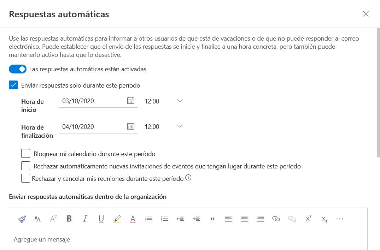 configurar respuestas automáticas en el correo de la Uned